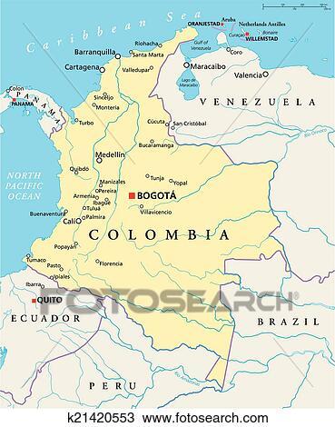 Colombia Politiek Kaart Clipart K21420553 Fotosearch