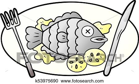 Cooked Fish Cartoon Clipart K53975690 Fotosearch