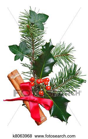 Decorazioni Natalizie Con La Cannella.Decorazione Natale Con Agrifoglio Cannella E Rosso Bow Archivio Fotografico
