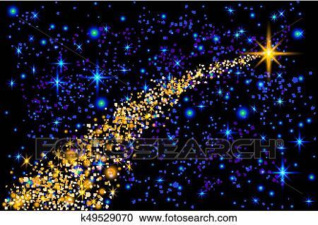 Stella Cadente Di Natale.Estratto Luminoso Stella Cadente Natale Stella Stella Cadente Con Luccicare Stella Traccia Segno Scia Su Blu Scuro Fondo Meteoroide Cometa Asteroide Fondale Vettore Illustrazione Clipart K49529070 Fotosearch