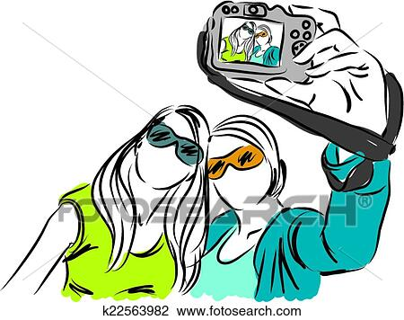 clipart of girls ladies taking a selfie photo k22563982 search rh fotosearch com ladies clipart images ladies clip art free