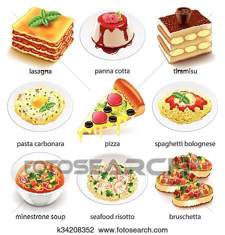 clipart of italian food icons vector set k34208352 search clip art rh fotosearch com Italian Food Cartoon Italian Food Cartoon
