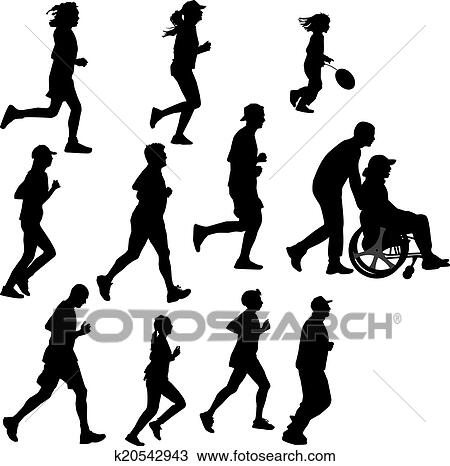 Paraplegic Person As A Runner Clipart