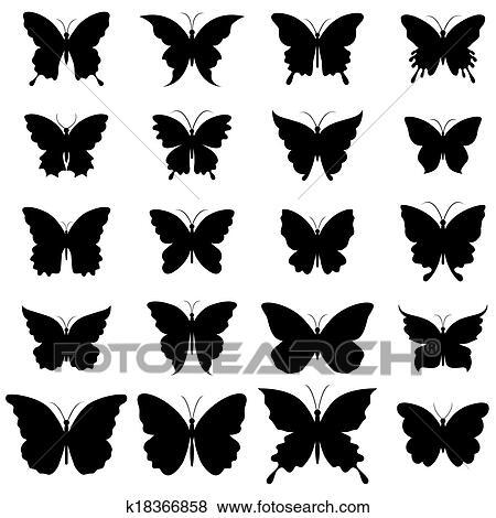 Clip Art Set Di Farfalle Per Disegno K18366858 Cerca Clipart