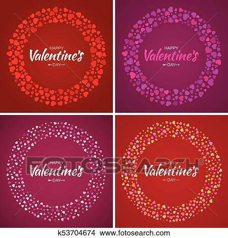 Set Of Valentines Day Card Design Love Circle Frame From