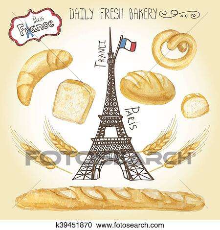 Watercolor French Pastry Bread Set Eiffel Tower Clipart K39451870 Fotosearch