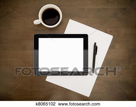 Stock Photo of Workplace With Blank Digital Tablet k8065102 - Search ...