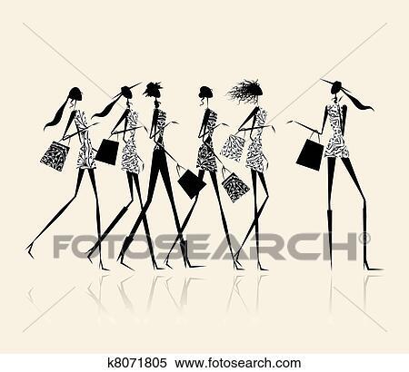 ファッション 女の子 で 買い物袋 イラスト ために あなた