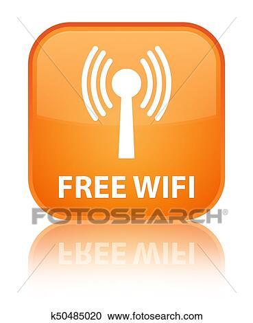 無料で Wifi Wlan Network 特別 オレンジ正方形 ボタン