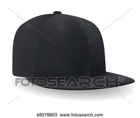 クリップアート切り張りイラスト絵画集 A 黒 野球帽