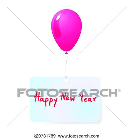 clip art balloon with happy new year tag vec fotosearch search clipart
