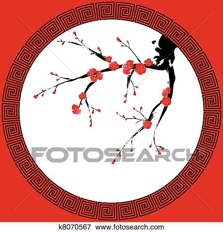 Clip art of chinese new year greeting card k8070567 search clipart clip art chinese new year greeting card fotosearch search clipart illustration posters m4hsunfo
