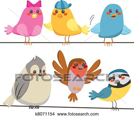 Clipart of Colorful Birds k8071154 - Search Clip Art, Illustration ...