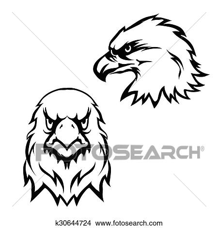 Drawings of Eagles head logo emblem template set mascot symbol for ...