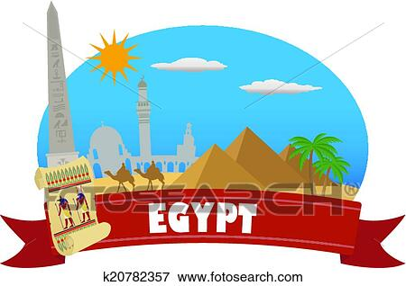 clip art of egypt tourism and travel k20782357 search clipart rh fotosearch com egypt clip art for kids ancient egypt clipart