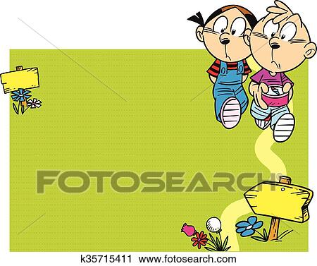 Enfants Aller Randonnee Clipart K35715411 Fotosearch
