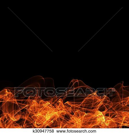 stock illustration of fire frame on black background template for