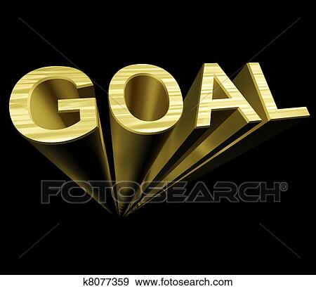Stock Photograph Of Goal Text In Gold And 3d As Symbol For Aiming