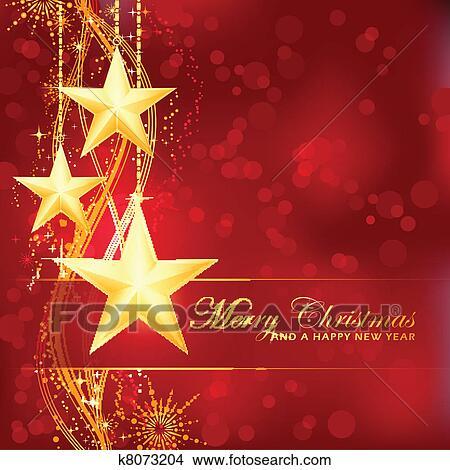 Christmas Background Clipart.Golden Merry Christmas Stars On Red Bokeh Background Clipart
