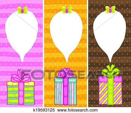 Happy Birthday Present Gift Box With Confetti Clipart