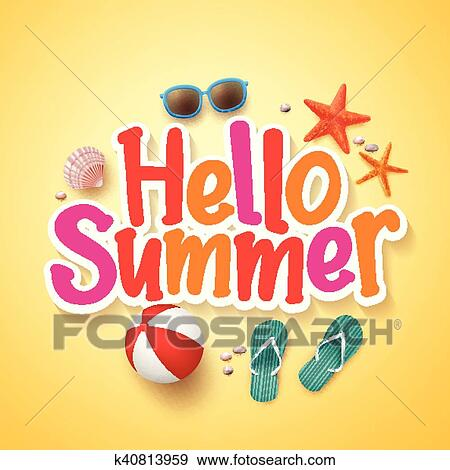 clip art of hello summer text poster design k40813959 search