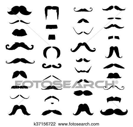 Clipart Of Huge Set Of Vector Mustache K37156722 Search Clip Art
