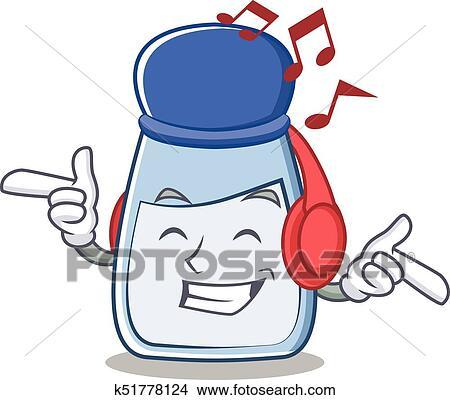 clipart of listening music salt character cartoon style k51778124 rh fotosearch com person listening to music clipart boy listening to music clipart