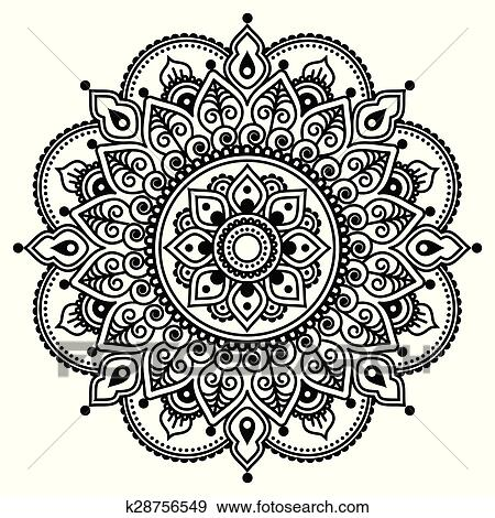 Clip Art Of Mehndi Indian Henna Tattoo Pattern K28756549 Search