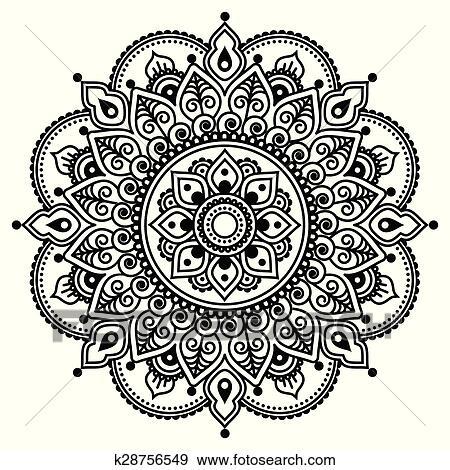 clip art of mehndi indian henna tattoo pattern k28756549