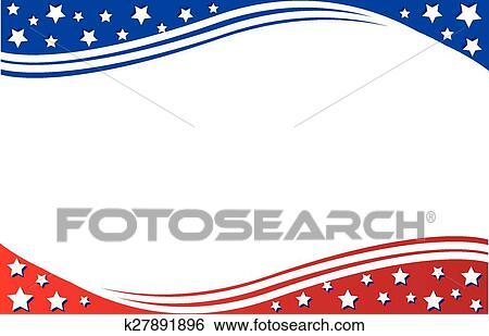 Clip Art of Postcard Border patriotic k27891896 - Search ...