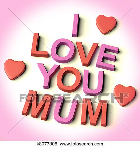 Stock Images Of Red And Pink Letters Spelling I Love You Mum With