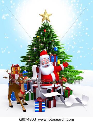 Santa Christmas Tree Gift List Drawing K8074803 Fotosearch