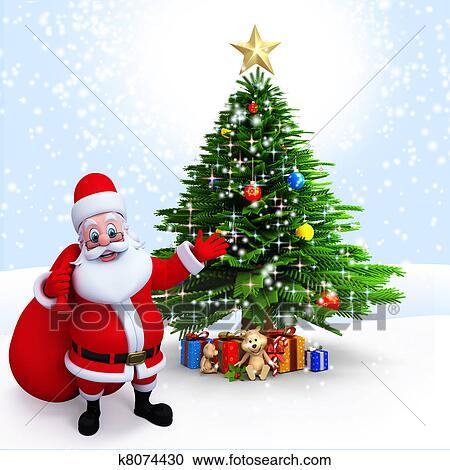 Santa Claus Pointing To A Xmas Tree Stock Illustrations K8074430