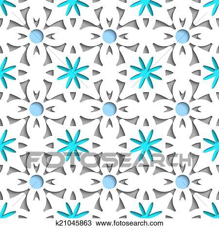 Simple Blanc Repainting Fleurs à Bleu Seamless Dessin