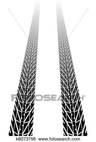 clip art of tire tracks into distance k8073756 search clipart rh fotosearch com mud tire tread clipart bike tire tread clipart