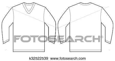 White Long Sleeve V Neck Shirt Design Template Clip Art K32522539 Fotosearch
