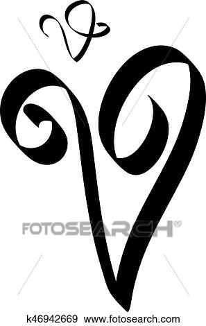 Clip Art Of Calligraphy Letter V K46942669 Search Clipart