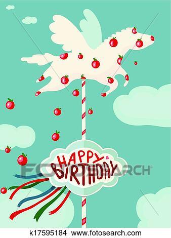 Clipart Cheval Carrousel Et Pommes Joyeux Anniversaire Carte