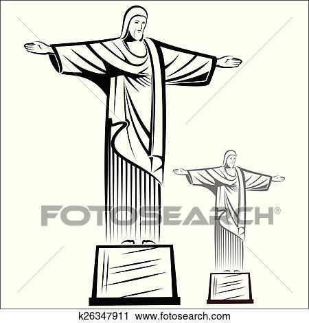 Dessin Christ Redempteur clipart - christ rédempteur k26347911 - recherchez des clip arts