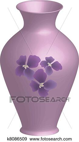 Clip Art Of Decorated Vase K8086509 Search Clipart Illustration