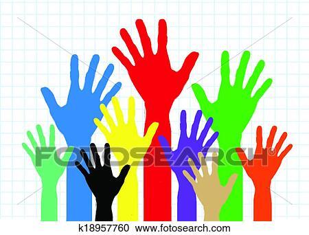 Fundo Coloridos Silueta Maos Desenho Clipart K18957760