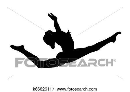 Graceful Split Leap Female Gymnast Stock Illustration K66826117 Fotosearch