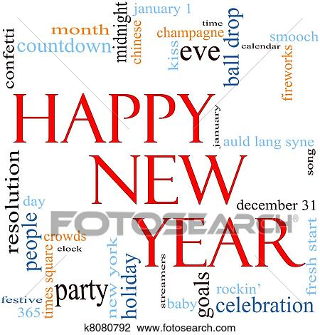 Clip Art of Happy New Year Word Cloud Concept k8080792 - Search ...