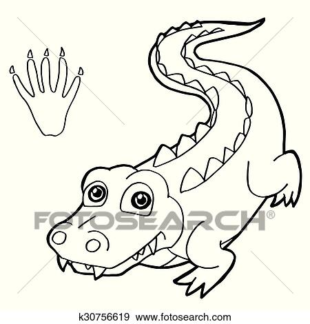 Paw print with crocodile Coloring P Clip Art | k30756619 ...