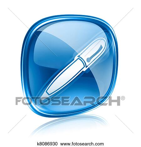 d985650ed Stock Illustrations of pen icon blue glass