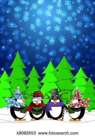 Snowing Christmas Scene.Penguins Carolers Singing Christmas Songs With Snowing Winter Scene Illustration Drawing