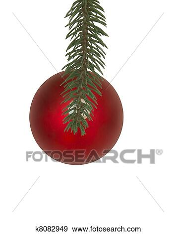 Christmas Tree Top View.Red Christmas Ornament Top View Hanging From Branch Stock Photo