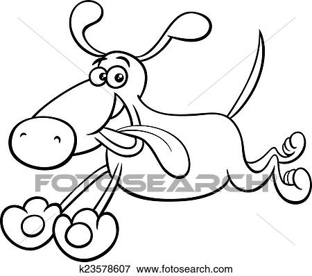 Black And White Cartoon Illustration Of Running Dog Pet Character For Coloring Book