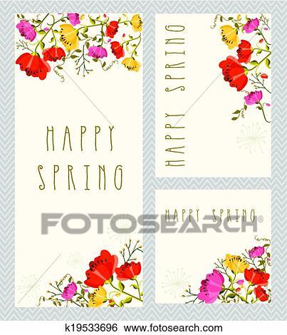 Spring Invitation Card Set Clip Art K19533696 Fotosearch