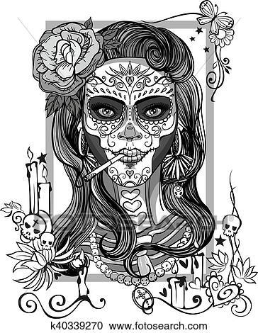 Sugar Skull Woman Clipart K40339270 Fotosearch